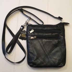 NWT Black leather Crossbody and wristlet